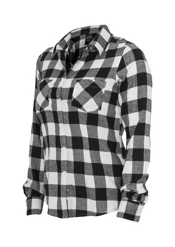 Рубашка URBAN CLASSICS Ladies Checked Flanell Shirt Black/White фото 6