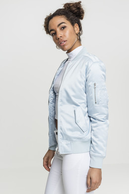 Куртка URBAN CLASSICS Ladies Satin Bomber Jacket женская Babyblue фото 2
