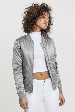 Куртка URBAN CLASSICS Ladies Satin Bomber Jacket женская Silver фото