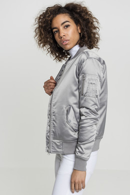 Куртка URBAN CLASSICS Ladies Satin Bomber Jacket женская Silver фото 2