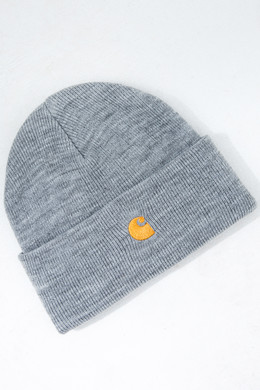 Шапка CARHARTT Chase Beanie Grey Heather/Gold фото