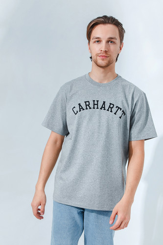 Футболка CARHARTT S/S University T-Shirt Grey Heather/Black фото 4