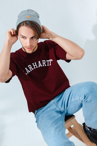 Футболка CARHARTT S/S University T-Shirt Bordeaux/White фото 5