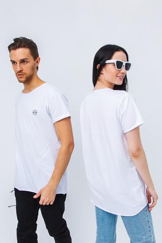 Футболка GOOD STORY ПВХ (с косым карманом) (Белый, S) футболка good story русалка с карманом серый xs