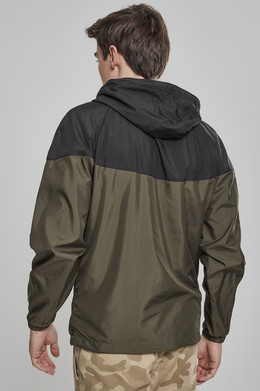 Ветровка URBAN CLASSICS 2-Tone Tech Windrunner Black/Dark Olive фото 2