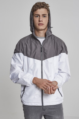 Ветровка URBAN CLASSICS 2-Tone Tech Windrunner Dark Grey/White фото