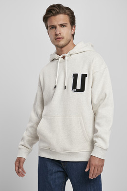 Толстовка URBAN CLASSICS Oversized Frottee Patch Hoody Light Grey