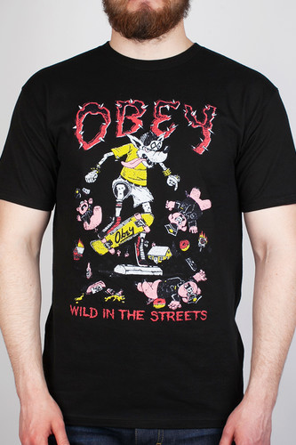 Футболка OBEY Wild In The Streets 3 (Black, S) promoting walkability in historic streets