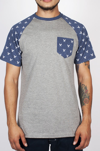 Футболка TURBOKOLOR Torch Pocket SS14 (Grey-Navy-Heather-Torch-Print, S)