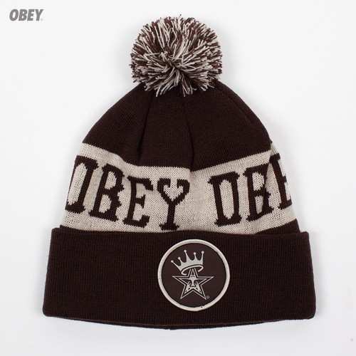 Шапка OBEY Crowned Pom Pom Beanie (Brown-Cream) стоимость