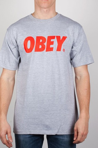 цены Футболка OBEY Font FW13 (Heather Grey/Red, XL)