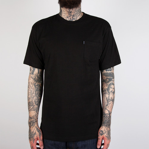 Футболка CROOKS & CASTLES Slub Pocket T-Shirt (Black, 2XL) plus size kangaroo pocket long sleeve ombre t shirt