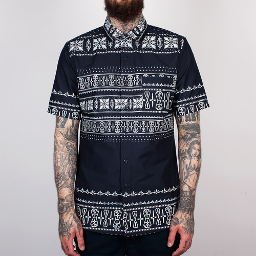 Фото Рубашка CROOKS & CASTLES - Native S/S Shirt (True Navy, L)