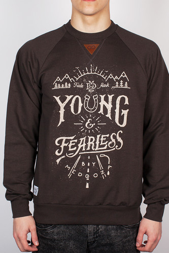 Толстовка MEDOOZA APPAREL Young&Fearless (Серо-Коричневый, XL) куртка medooza apparel sailfish синий xl