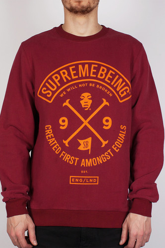 Толстовка SUPREMEBEING Colours Crew SS14 (Burgundy-9036, XS) майка supremebeing colours vest black 9045 l