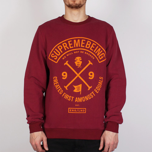 Толстовка SUPREMEBEING Colours Crew SS14 (Burgundy-9036, XS) футболка supremebeing cell burgundy 8968 l