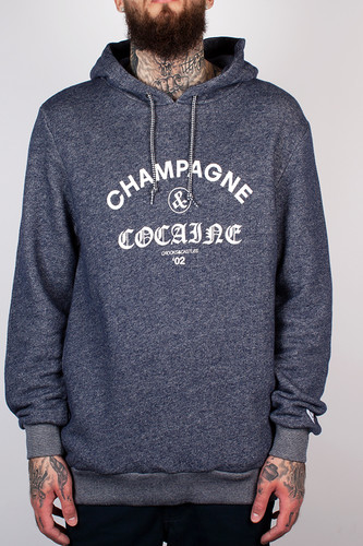 Толстовка CROOKS & CASTLES - Champagne And Cocaine Hooded Pullover (Speckle Navy, 2XL)