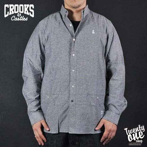 Рубашка CROOKS & CASTLES Castle Rook L/S Shirt (Dark-Grey, L) рубашка norveg soft shirt размер l 2043 14sw1rl 006 l ocean