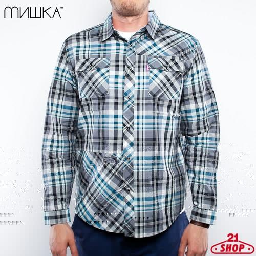 Рубашка MISHKA Eastwood Poplin Shirt (Grasshopper-Green, S) цена 2017
