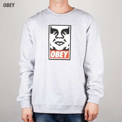 Толстовка OBEY Og Face Crew (Heather-Grey, XL) футболка obey youth crew black xl
