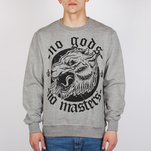 цены на Толстовка OUTCAST No gods No masters (Серый Меланж, M)  в интернет-магазинах