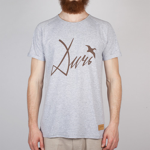 Футболка ЗАПОРОЖЕЦ Дичь шрифт (Grey Melange, XL)