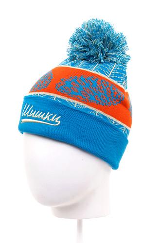 Шапка с помпоном детская ЗАПОРОЖЕЦ Шишки (Blue-6-12) шапка с помпоном запорожец узор 1 blue white