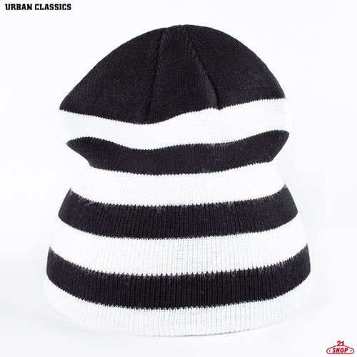 Шапка URBAN CLASSICS 2 Stripe Beanie (Black-White) цена