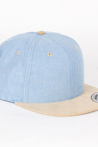 Бейсболка YUPOONG Chambray-Suede Snapback (Blue-Beige, O/S)