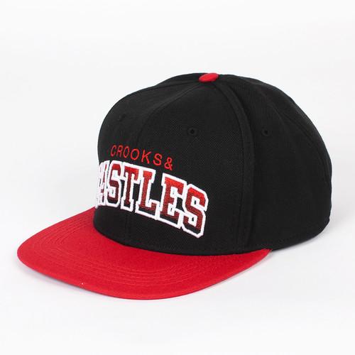 Бейсболка CROOKS & CASTLES Team Castles Snapback (Black/True Red, O/S) все цены