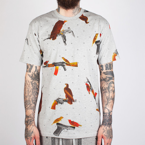 Футболка CROOKS & CASTLES Birdtrap T-Shirt 2 (Heather Grey, 2XL)