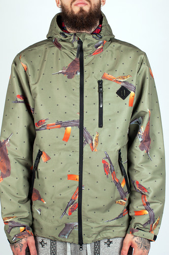 Ветровка CROOKS & CASTLES Bird Trap Anorak Jacket (Olive Drab, 2XL)