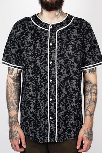 Рубашка CROOKS & CASTLES Infantry Baseball Jersey (Black Digi Camo, L)