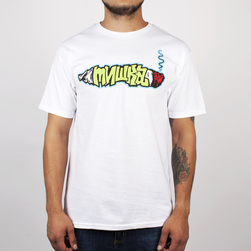 Футболка MISHKA Smoke 2 Joints Tee (White, L) men smoke print tee