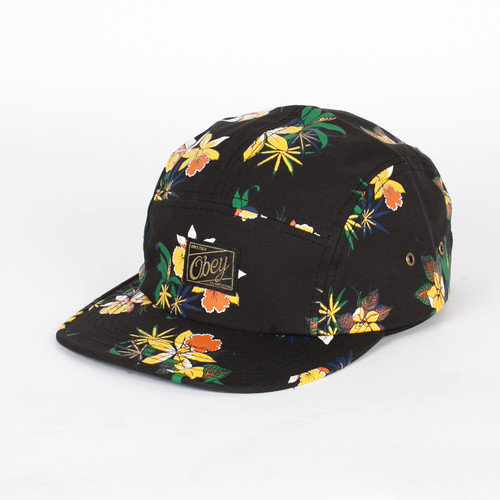 Бейсболка OBEY Sativa Floral 5 Panel (Black, O/S) vintage grid panel floral dress