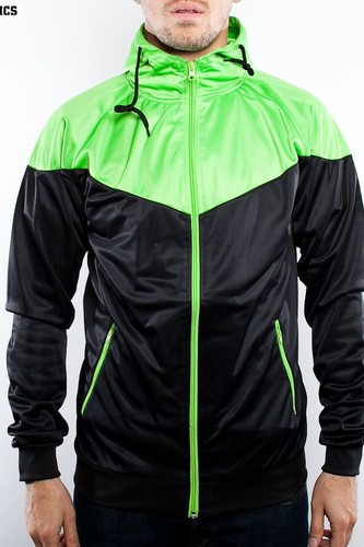 Олимпийка URBAN CLASSICS Arrow Sports Zip Hoody (Black/Limegreen, L) цена и фото