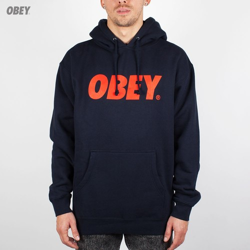 Толстовка OBEY Font Pullover (Navy-Red, XL)