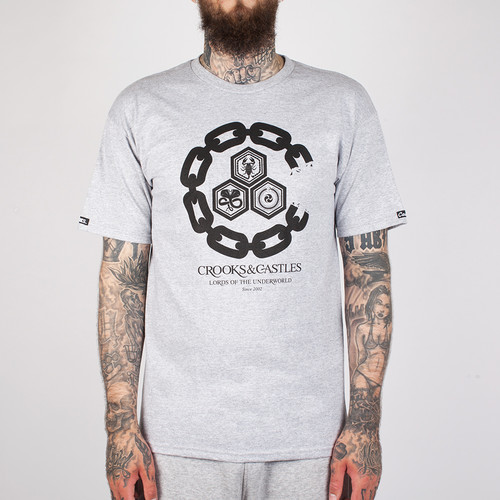 купить Футболка CROOKS & CASTLES Chain C Underworld Crew T-Shirt (Heather Grey-2, 2XL) дешево