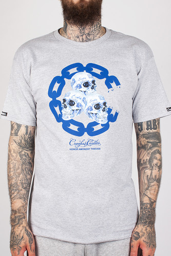 Футболка CROOKS & CASTLES Skull Ware Chain C Crew T-Shirt (Heather Grey-2, XL)