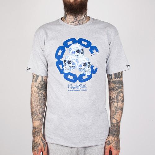 Футболка CROOKS & CASTLES Skull Ware Chain C Crew T-Shirt (Heather Grey-2, XL) футболка norveg soft t shirt размер xl 673 14sw3rs 014 xl grey melange