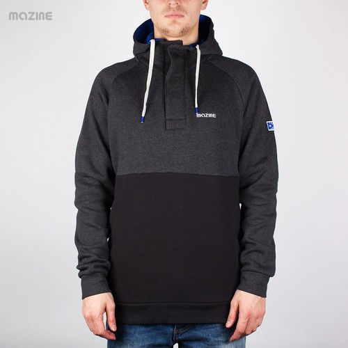 Толстовка MAZINE Male Basic Buttoned Hoody (Black-Mel-Black, XL) цены онлайн