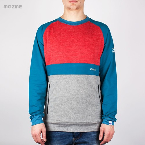 Толстовка MAZINE Male Crewneck 01 (Mid-Grey-Mel-Ink-Blue, M) толстовка mazine male basic hoody fw13 black mel black xs