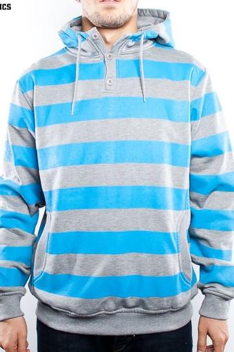 Толстовка URBAN CLASSICS Striped Hoody (Grey/Turquoise, L) цена 2017