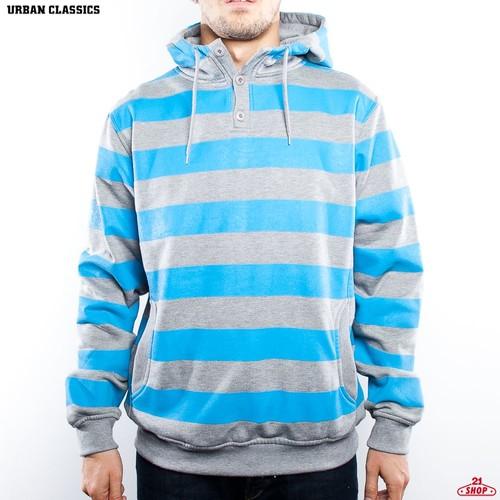Толстовка URBAN CLASSICS Striped Hoody (Grey/Turquoise, L) жилетка urban classics jersey button vest turquoise grey s