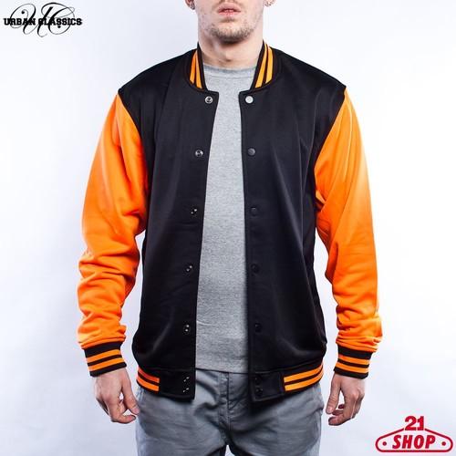 цена Толстовка URBAN CLASSICS Neon College Jacket (Black-Orange, M) онлайн в 2017 году