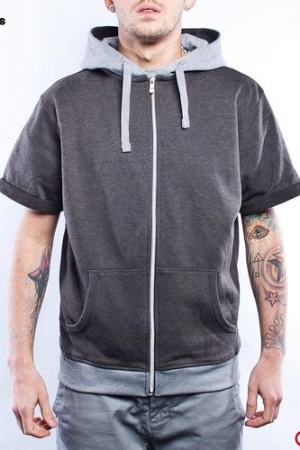 Толстовка URBAN CLASSICS Light Fleece Shortsleeve Zip Hoody (Charcoal-Grey, L)