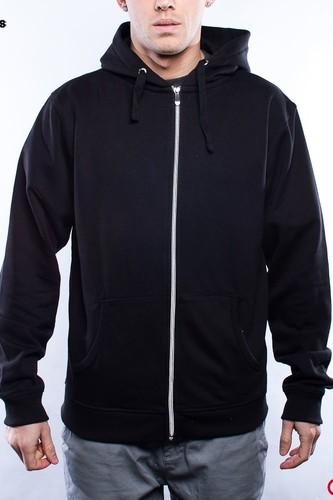 Толстовка URBAN CLASSICS Light Fleece Zip Hoody (Black-Black, S)