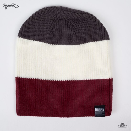 Шапка DJINNS Oversize Beanie Striped 2012 (Grey-White) шапка мишка patterson oversize cuff pom beanie tan