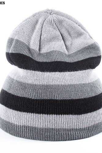Шапка URBAN CLASSICS 3 Stripe Beanie (Grey-Elephant-Black)