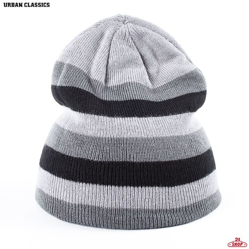 Шапка URBAN CLASSICS 3 Stripe Beanie (Grey-Elephant-Black) цена